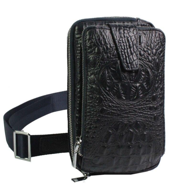 Men High Quality Crocodile Grain Clutch Bag First Layer Cowhide Sling Chest Back Cross Body Messenger Shoulder Bag <br>