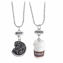 2017 sweet milk cookie best buds friendship pendant necklace 2 in set gift jewelry 7606