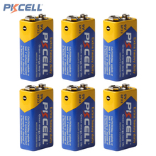 6pcs! Pkcell Super Heavy Duty 9V 6F22 Battery Dry Zinc Carbon Battery for Remote Control Toys Smoke Alarm Digital Camera(China)