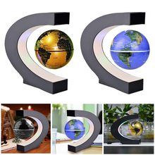 2017 New 3 Inch C Shape Electronic Magnetic Levitation Floating Globe World Map with LED Lights Birthday Gift Home Decoration