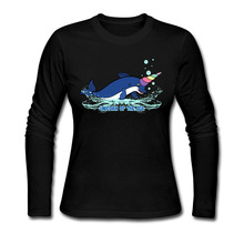 Fashion Cool Style Unicorn Of The Sea And Dolphin T Shirts Women Cotton Long Sleeve Woman t-shirt O Neck Fitness Womens Tee Tops