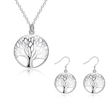 Silver Tree Of Life jewelry bridal set necklace earring totem gift wife girl wedding wholesale jewellery(China)