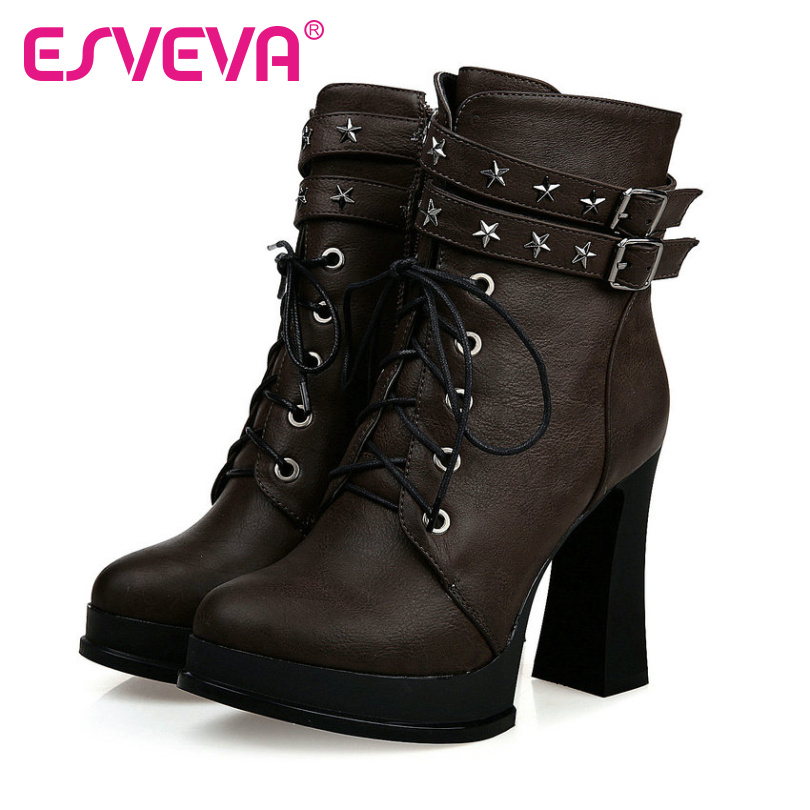 ESVEVA 2017 western style motorcycle boots rivets Autumn Shoes Square Heel Platform Fashion Boots Ladies ankle Boots Size 34-43<br><br>Aliexpress