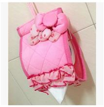 Princess Pink Lace Bow Plush Hello Kitty Tissue Cover Hanging Tissue Pumping Set Cartoon Tissue Box Tissue Paper Storage Box