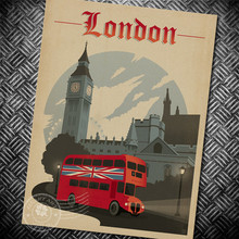 London Posters of famous scenic spots Retro nostalgia memorial kraft paper posters stickers bars cafe decoration painting