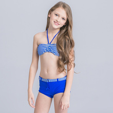 New striped Girl's Bikini 2017 for Children Girl Swimsuit Two Piece Bathing Suit Swimwear Girls Kids  Beach Wear Teenager Child