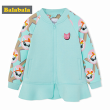 2018 Balabala Spring Girls Jackets kids fashion Cat Printed Girls jacket Coats Cotton Childrens Clothes Fashion Outwear clothing(China)