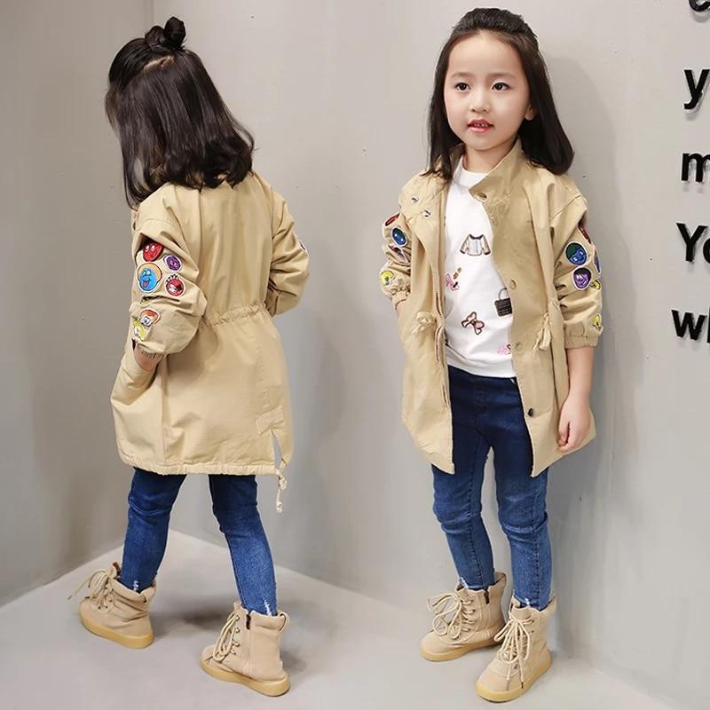 Spring new girl windbreaker cartoon tag stand collar Korean children in the childrens children in the long tide childrens jack<br><br>Aliexpress