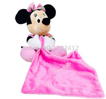 Noctilucent Minnie Plush Toy Pink Saliva Towel Appease Newborn Baby Soft Hand Towels for Kids Girls