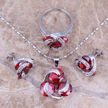 Valuable Red Garnet Silver Jewelry Sets Earrings Pendant Ring Size 5 / 6 / 7 / 8 / 9 / 10 S0124(China)