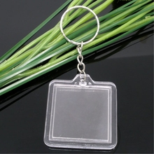 8SEASONS 10PCs Key Chains & Key Rings with Transparent Clear square Picture Photo Frames can open Keychains fit 30 x 30mm Photos