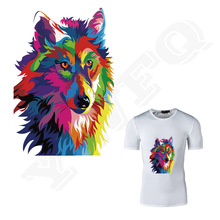 15.3*22cm Color Wolf Patches Heat Transfer Applique Iron On Patches For DIY Fashion Clothes Personalized Jacket Free Shipping