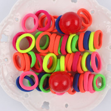 2017 new 100pcs/lot Wholesale Super great elasticity Hair accessories for GIRLS kids rubber bands scrunchy 20mm MIX QQ276(China)