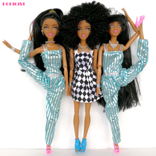 1pcs 2017 NEW Style Dolls  Factory Direct selling Series Black Long hair special price Black skin doll Wild-curl up Long legged