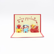 3D Laser Cut Handmade Cartoon Christmas Present Train Party Paper Invitation Greeting Cards PostCard Children Kids Creative Gift