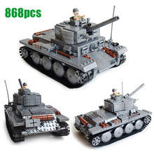 Big Tank German Light Tank PzKpfw II Ausf L Luchs 3D model Building Block Armored Vehicle Scale Kazi KY82009 Toy for kid boy