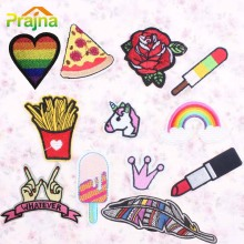 1PCS Rainbow Anime Feather Patch Pizza Sew Iron On Cartoon Lip Patches Logo DIY Cheap Embroidered Cute Patches For Clothes Badge