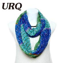 URQ Woman Ring Scarves Fashion Style Floral Scarfs Print Tube Scarf viscose Loop Scarves for Female Girl flower pattern V8A9228(China)