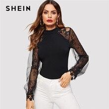 SHEIN negro de cuello de encaje y malla de dos capas con manga raglán larga  de las mujeres blusa de primavera Casual de otoño si. fbe01c40082