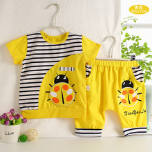 2017 high quality cotton Kids Clothing Sets muliticolor cartoon T-shirt +harem middle pants babys Clothes Baby boys girls set
