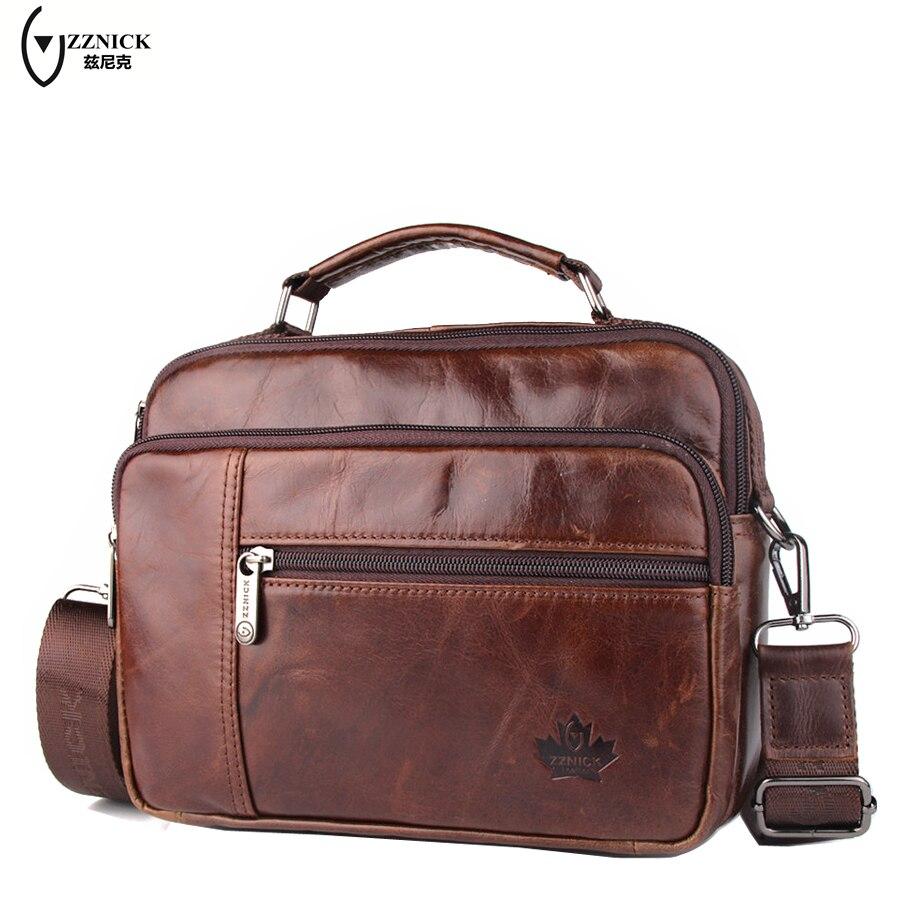 ZZNICK men genuine leather bag messenger bag man crossbody shoulder bag business tote briefcases cow leather brand handbags<br>