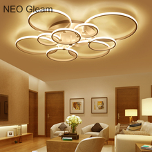 NEO Gleam New Modern Led Ceiling Lights For Living Room Bedroom White Color Home Circel Rings Led Ceiling Lamp lampara techo