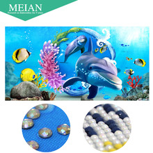 Meian,Special Shaped,Diamond Embroidery,Cartoon,Shark,5D,Diamond Painting,Cross Stitch,3D,Diamond Mosaic,Decoration,Christmas(China)
