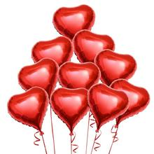 10pcs Red Heart Foil Helium Balloons with Ropes for Valentines Day Wedding Engagement Decoration(China)