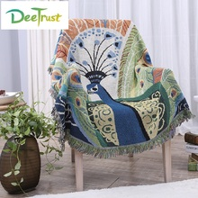 Cotton Thick Peacock Rectangular Color Throw Sofa blanket TV Thread Blanket decorative slipcover on Sofa/Bed/Plane Travel Plaids