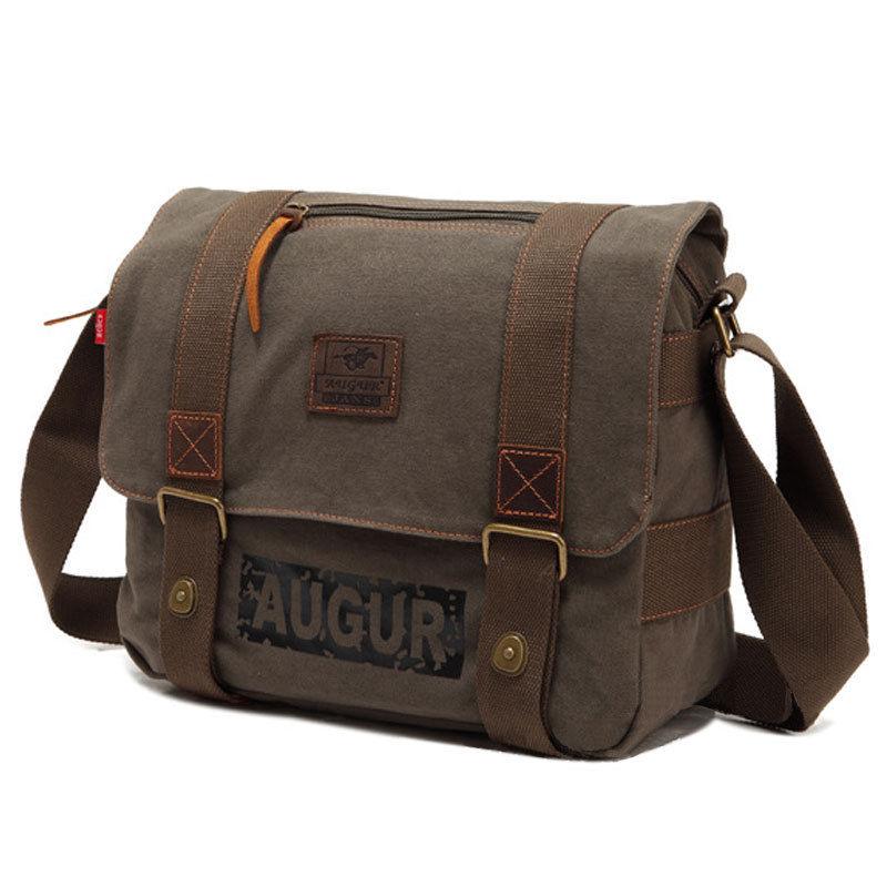 Mens Vintage Canvas Satchel Messenger Bag School Military Shoulder Bag Shool Travel Crossbody Bag Army Green<br>