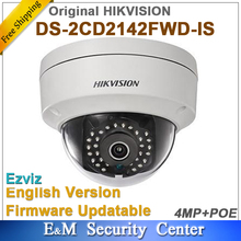 Original Hikvision english version DS-2CD2142FWD-IS replace DS-2CD2135F-IS 4MP IP CCTV POE IR dome camera with Audio I/O