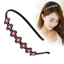 Hot Sale New Fashion Korean Flower Headband for Girls High-Quality Crystal Stone Leather Hairband for Wedding Hair Accessories
