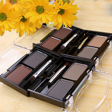 2 Colors Natural Eyebrow Powder Cosmetic Brush Eyebrow Cake Makeup Palette Set B9C5