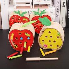 Montessori Buah-buahan Lucu Magnetik Menangkap Serangga Kognisi  Pertandingan Permainan Puzzle Kayu Mainan untuk Hadiah b29e60fee3