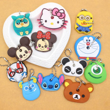 Cute Anime Cartoon Minion Key Cover Owl Bear Keychain Silicone Stitch Holder porte clef Unisex Key Caps Minnie monster Chain