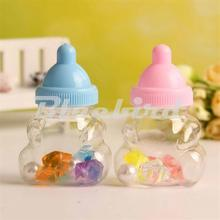 12x Baby Shape Pink/Blue Baby Shower Party Favor Boxes Candy Bottle Baptism Christening Birthday Gift Favors For Girl/Boy(China)