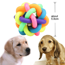 Hot Selling Mini Pet Toy With a Small Metal Bell Colorful Cat/Dog Pet Fun Chew Throw Train Toy Ball