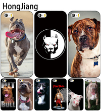 HongJiang pitbull dog cell phone Cover case for iphone 6 4 4s 5 5s SE 5c 6 6s 7 8 plus case for iphone 7 X(China)