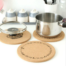 1Pcs Round cork coasters Placemat insulation pad Wooden table pot mat pad Dinner Table Decoration Kitchen Supplies 7z-ca132