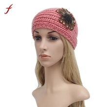 New Hot saleWomens Winter Warm Feather Knitted Empty Skull Beanie Headband Warmer Hairband Hat Cap headband woman accessories(China)