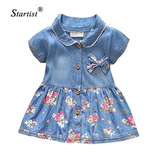 2017 Spring Summer Baby Dress Casual Style Baby Girls Dress High Quality Bow Baby Denim Dress Turn Down Collar Baby Girl Clothes