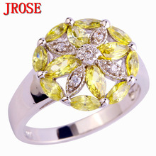 JROSE Dainty Flower Created Light Green & White CZ Silver Color Ring Size 10 Wholesale Fashion Jewelry For Women Hot Sale