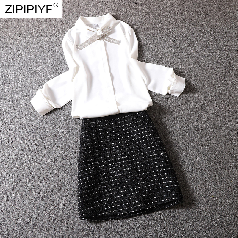 Simple Design Women 2 Piece Set Solid Color Long Sleeve Turn-down Neck Bow Design Blouse Casual A-Line Knitting Short Skirt Z364