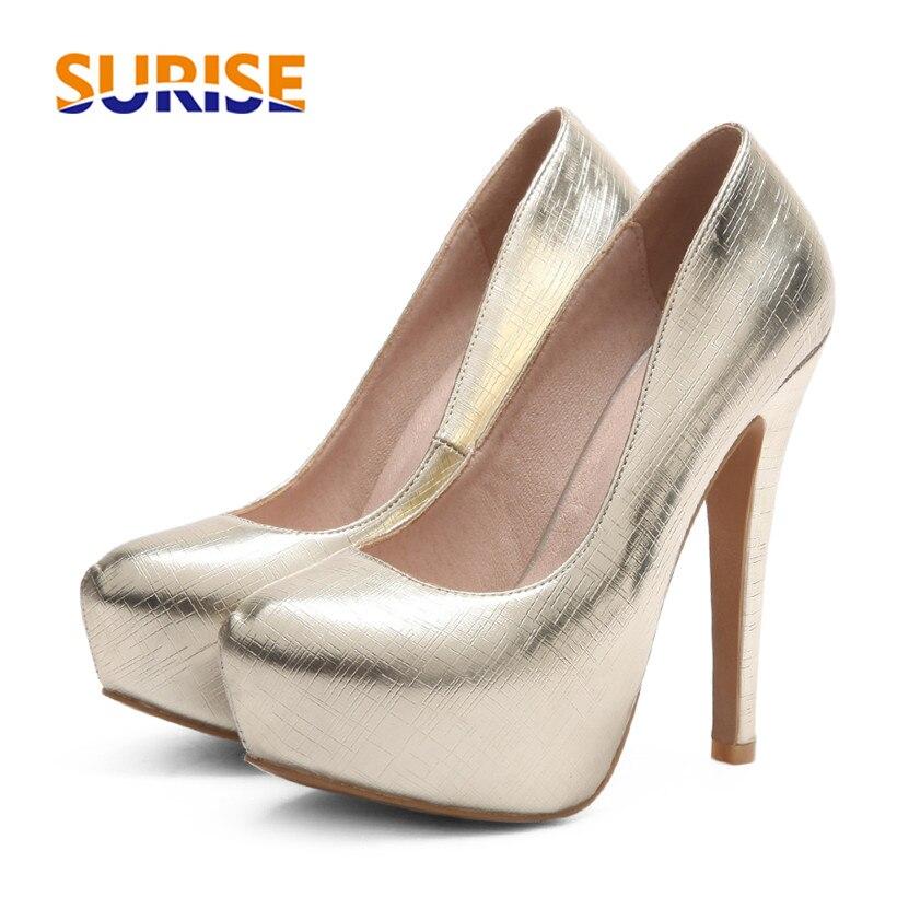 14cm High Spike Heel Platform Women Pump Open Toe Round Toe Metal PU Leather Party Bridal Wedding Slip On Red Lady Thin Stiletto<br>