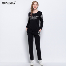 MUSENDA Plus Size 5XL Women Black Embroidery Tops Elastic Waist Full Length Pants 2018 Spring Female Lady Casual Two Piece Sets(China)