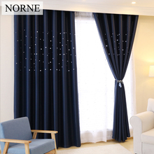 Laser Cutting Stars Navy Blackout Curtain Thermal Insulated Out Star Window Treatment for Kids and Nursery Rooms Decoration
