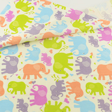 Elephant  Cotton Fabric Patchwork Sewing Cloth Craft Teramila Fabrics Tecido Quilting Bedding Decoration Tissue Home Textile