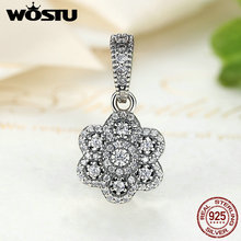 WOSTU New Fashion 925 Sterling Silver Sparkling Flower Dangle Charm Bead Fit Original Pandora Bracelet Pendant Authentic Jewelry