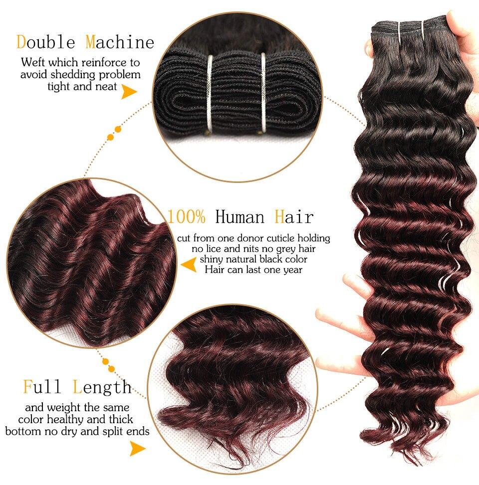 Pinshair Pre-Colored T1BBurg Deep Wave Hair Brazilian 3 Bundles With Closure Non-remy Human Hair Weave Bundles With Closure (13)