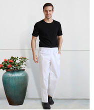 S-3XL White Woman Chef Pants Kitchen Restaurant Cooking Pants For Men Elastic Waist Catering Trousers Sale Clothes Free Shipping